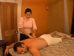 Exotic masseuse gives a great handjob..