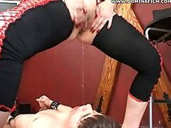 Blonde Mistress Fucking a Guy with a..