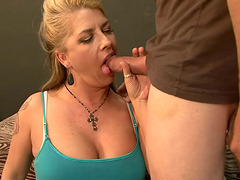Busty blonde Joclyn Stone blows and..
