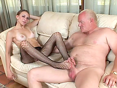 Footjob and blowjob by a kinky siren..