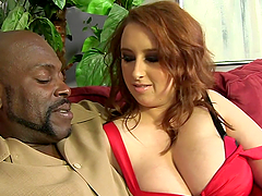 Interracial sex for the thick redhead..