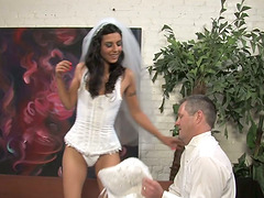 Smoking hot bride is loving it with a..