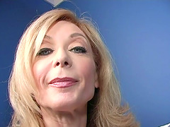 Mature blonde Nina Hartley sucks a BBC..