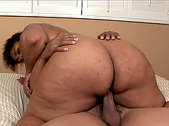 Ebony BBW sucks and rides big black..