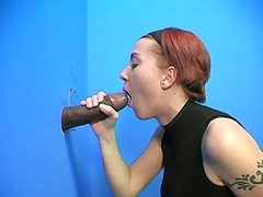 Cute Redhead Sucks During an Interracial Gloryhole Video