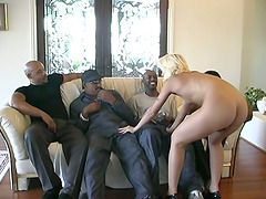 Gangbang interracial porn video with a..