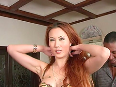Asian Hottie Takes on Two Big Black..