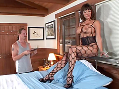 Notorious brunette milf in fishnet..