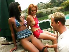 Ebony And Blonde Teen Have A Threesome..