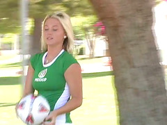 Alison Angel poses in sexy soccer..