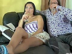 Sexy Latina Gets Fucked by an Old Guy
