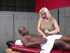 Hot MILF Masseur Gets Interracial..