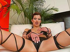 Brunette bitch Virginia gets her ass..