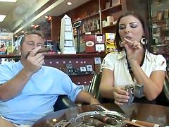 Stunning Maria Bellucci smokes a cigar..