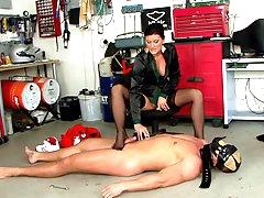 Hot milf enslaving her guy