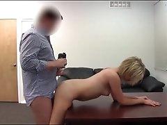 Chubby guy fucks cute blonde on..