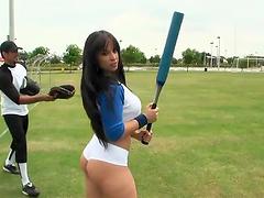 Beautiful Liz plays baseball and has..