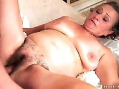 Hairy granny pussy fucked by his young..