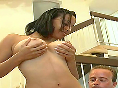 Slim ebony girl with big tits gets..