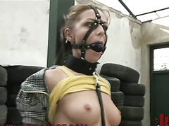 Outdoor Bondage With Sexy Blonde in..