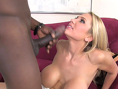 Lovely Alanah Rae sucks huge black..
