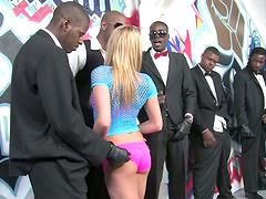 Kinky White Girl Gangbanged by Black..