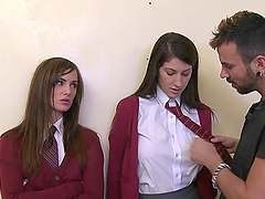 Two babes in a school uniform get..