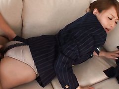Asian Stewardess Works Magic With Her..