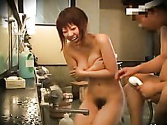 Hot Asian Babe Handjobs In a Men's Hot..