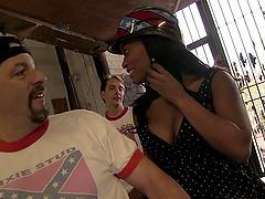 Crazy Ebony Girl Gangbanged by a Group..