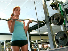 Red Hot Girl Strips and Works Out..