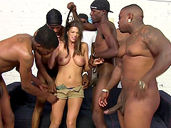 Interracial gangbang for a sizzling..