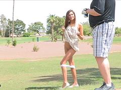 Salacious flasher Jody shows her ass..