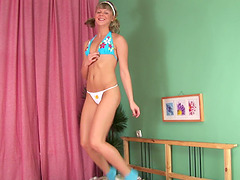 Skinny teen in socks gets her ass and..
