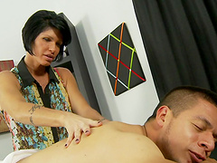 Mother teaches her daughter to suck cock
