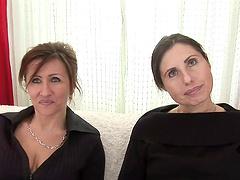Lesbian scene among to horny mature..