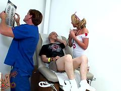 Busty nurse Nikki Anne is fucked silly..