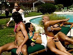 Glorious Group Sex Outside By The Pool