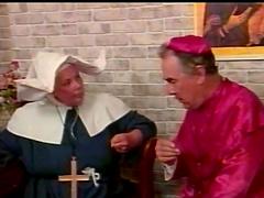 Horny priest spanks a kinky nun