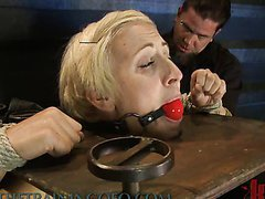 Skinny Blonde Is Hog Tied And Tortured..