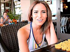 Beautiful Natasha talks on camera in a..
