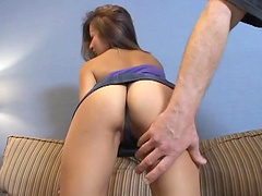 Asian hottie gets nailed by two..