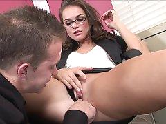Brunette Tori Black gives a deep blowjob