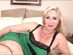 Granny looks cute in green lingerie