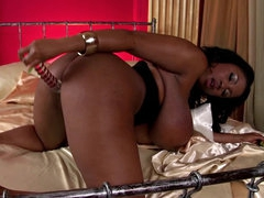 Busty ebony milf Maserati playing with her pussy