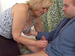 Blonde granny is fucked silly by a..