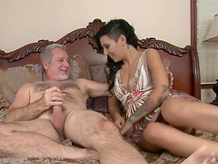 Aimee Black is fucked by an old man..