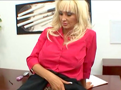 Blonde with big tits & tan lines takes it in her pussy