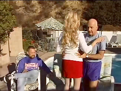 Busty blonde has a threesome with old..