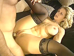 Sexy long legged blonde gets fucked in the bedroom
